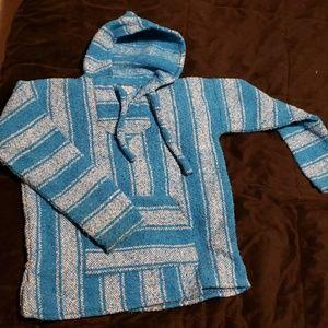 Tops - Blue poncho hoodie